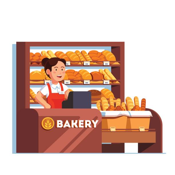 cashier at bread bakery store at checkout counter - bakeries stock illustrations, clip art, cartoons, & icons