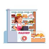 Local business owner working as cashier at pastry store showing pretzel in hand at bakery checkout counter. Showcase full of cakes, baked products. Retail business. Flat vector isolated illustration.