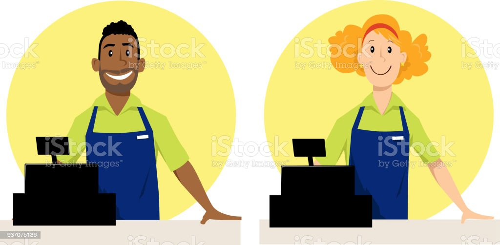 royalty free grocery store employee clip art vector