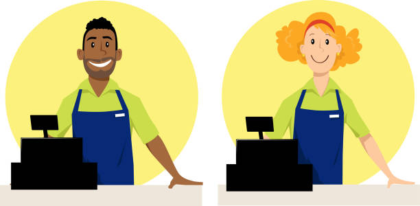 Cashier Cartoons Vector Art Illustration