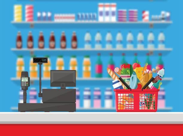 illustrazioni stock, clip art, cartoni animati e icone di tendenza di posto di lavoro contatore cassiere. interni del supermercato - banchi di pesci