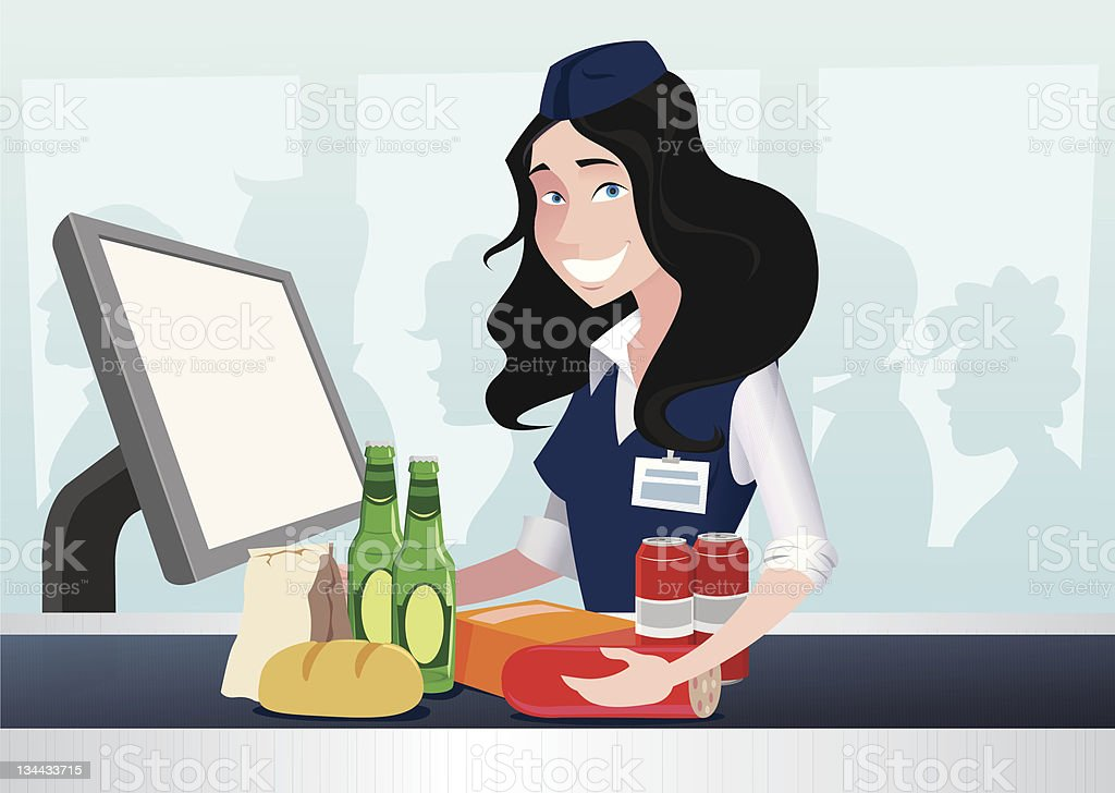 cashier girl in a supermarket royalty-free cashier girl in a supermarket stock vector art & more images of adult