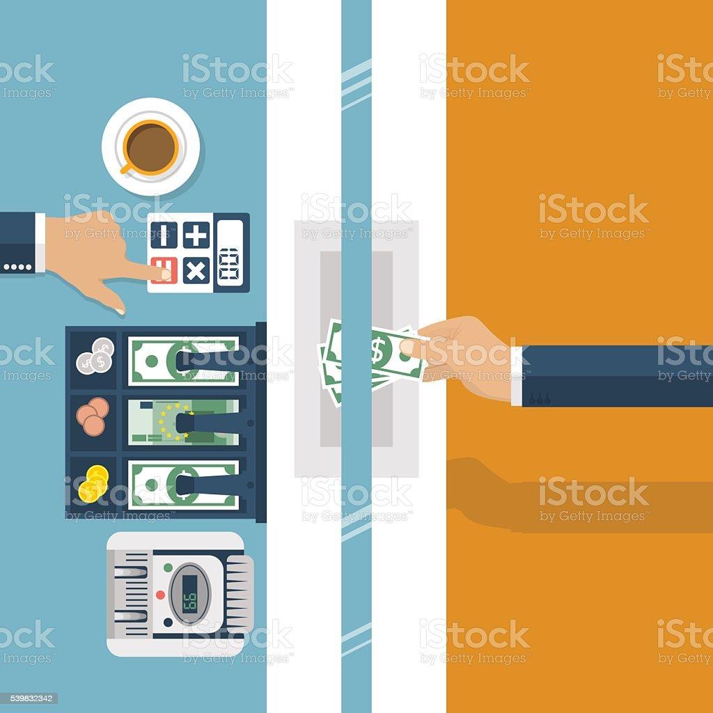 Cashier in bank. Worker bank, financial specialist. vector art illustration