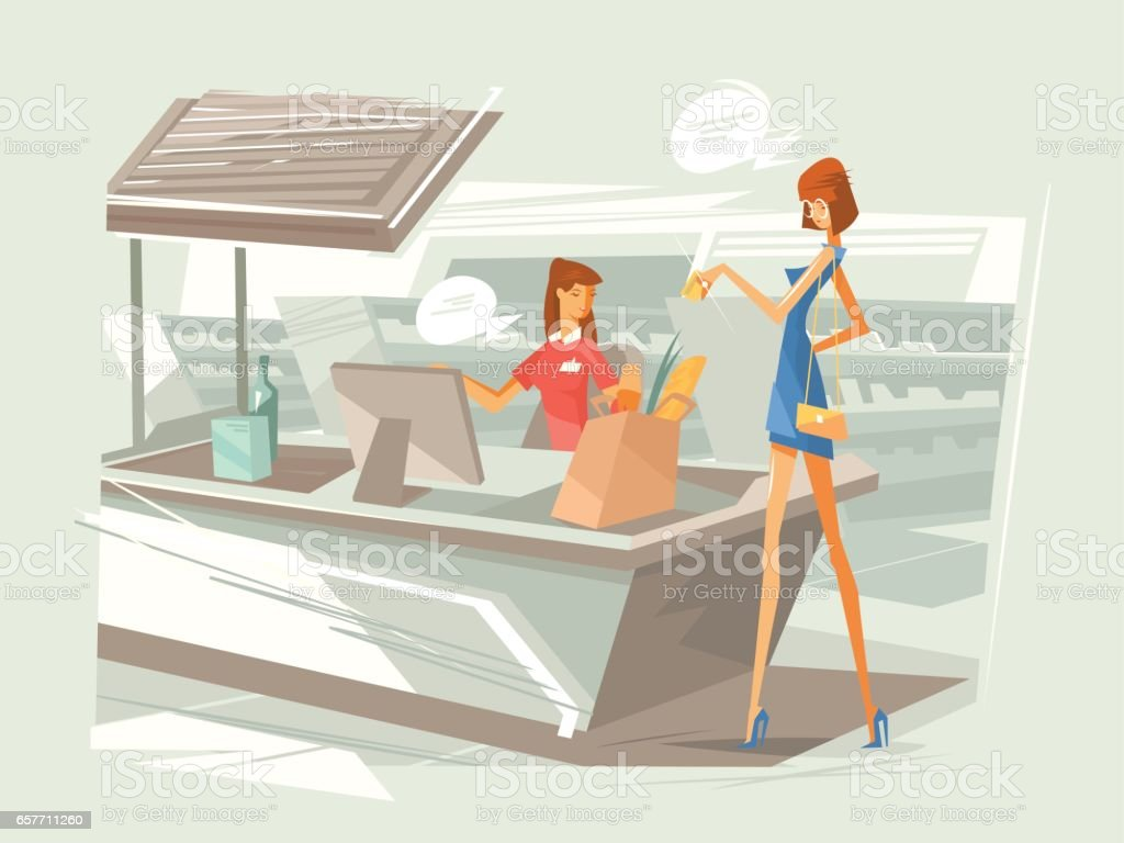 Cashier in supermarket at workplace vector art illustration