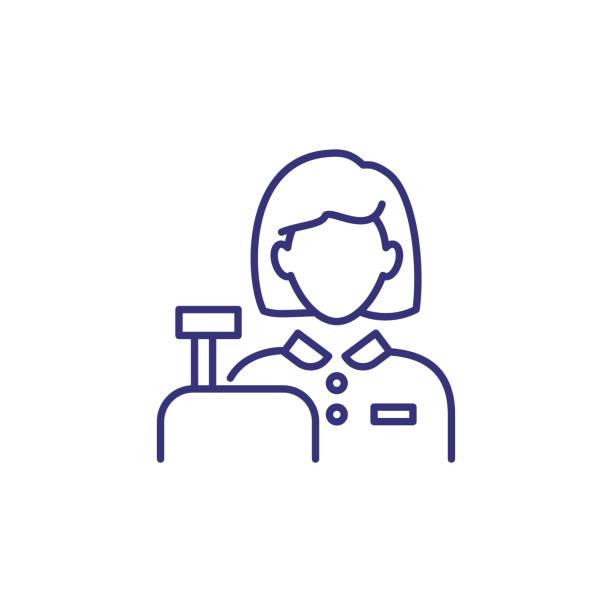 ilustrações de stock, clip art, desenhos animados e ícones de cashier line icon - supermarket worker