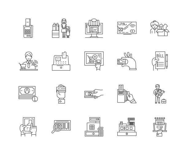 キャッシャーのアイコン、サイン、ベクトルセット、アウトラインイラストのコンセプト - 窓口点のイラスト素材/クリップアート素材/マンガ素材/アイコン素材