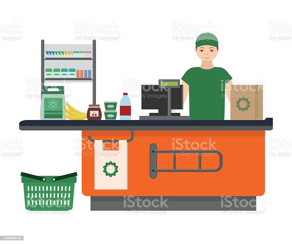 Cashier man prepares purchasing at supermarket vector art illustration