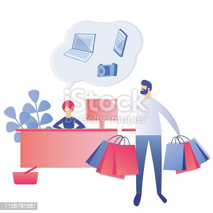 Cashier Offers Discounts on Digital Technique while Man with Shopping Bags Leaving Shop Mall. Worker Cartoon Character at Store. Flat Female Buyer with Purchases. Vector Sales, Discount Illustration