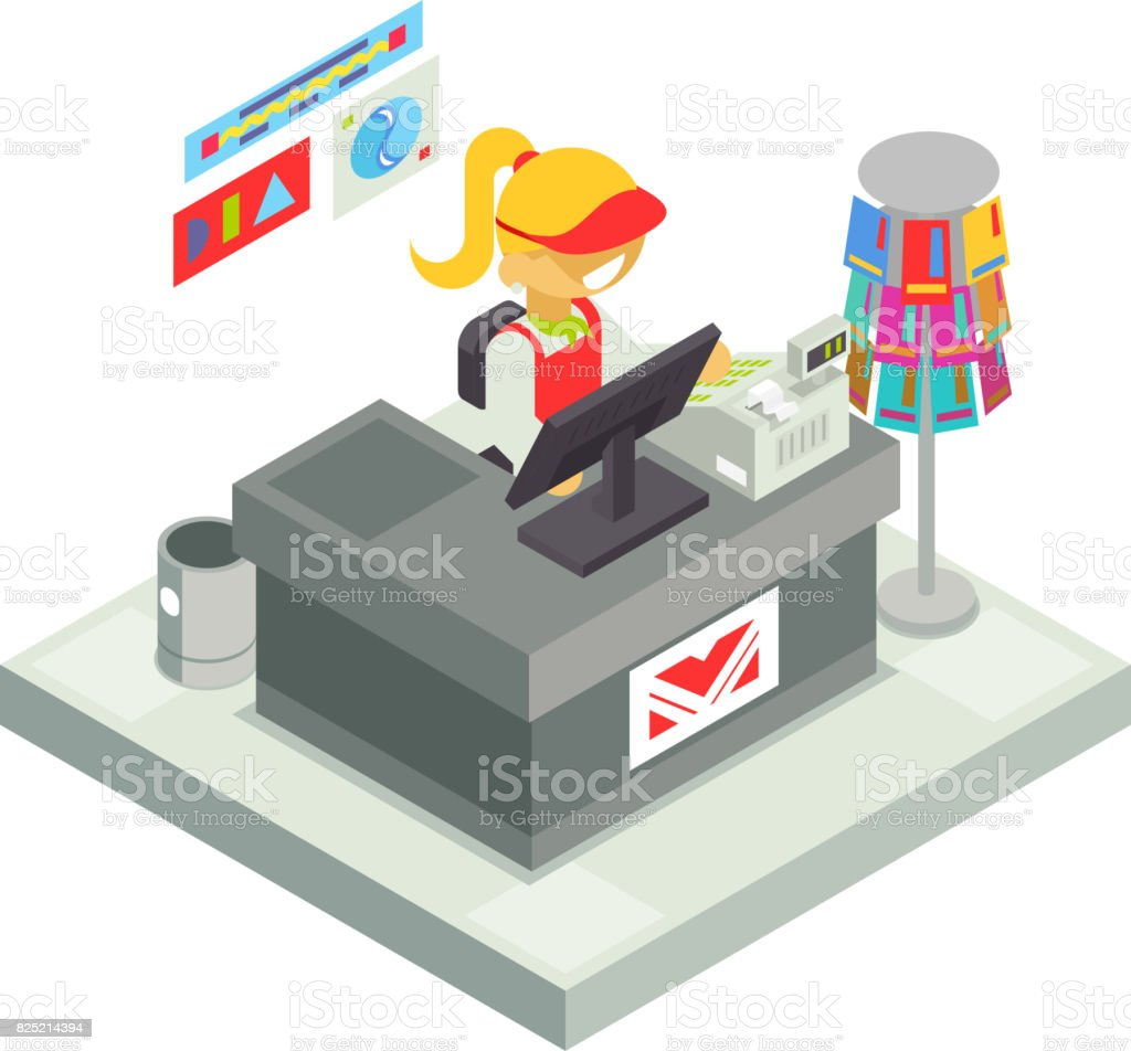 Cashier Seller Cashbox Isometric Shop Stall Business Sell Goods Offer Sale Store Market Icon Flat Design Vector Illustration vector art illustration