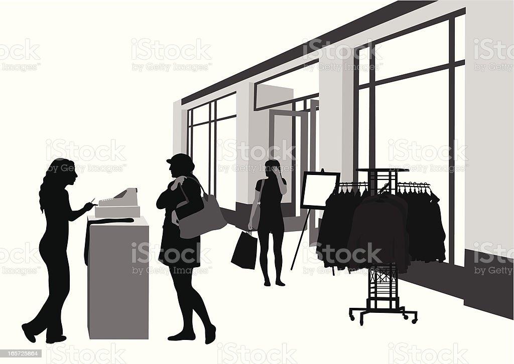 Cashier Shop Vector Silhouette royalty-free stock vector art