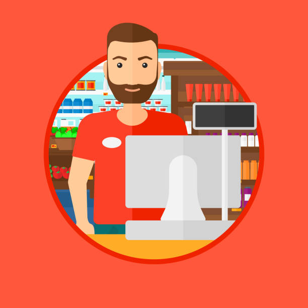 ilustrações de stock, clip art, desenhos animados e ícones de cashier standing at the checkout in supermarket - supermarket worker