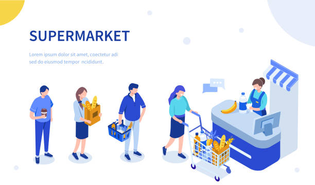 cashier People waiting in line at grocery supermarket. Can use for web banner, infographics, hero images. Flat isometric vector illustration isolated on white background. grocery store stock illustrations