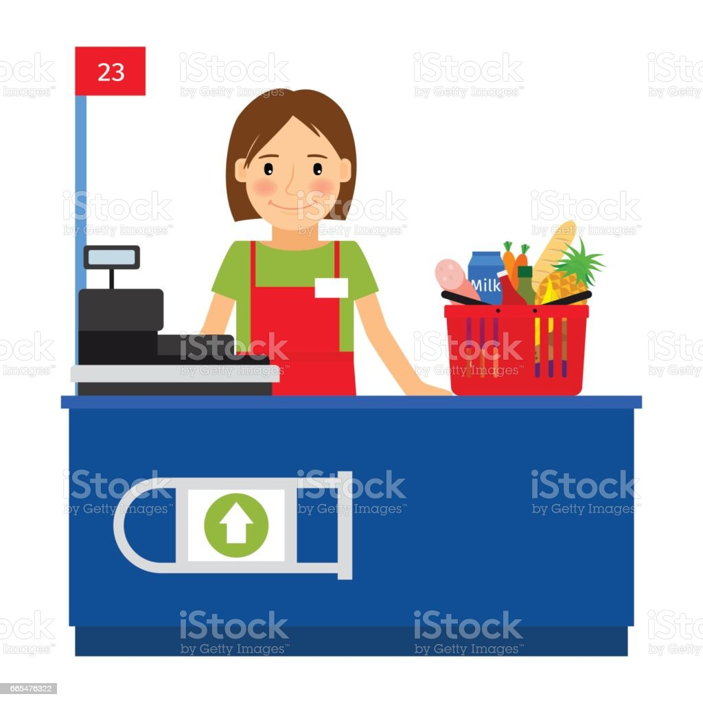 Cashier woman and shopping cart vector art illustration