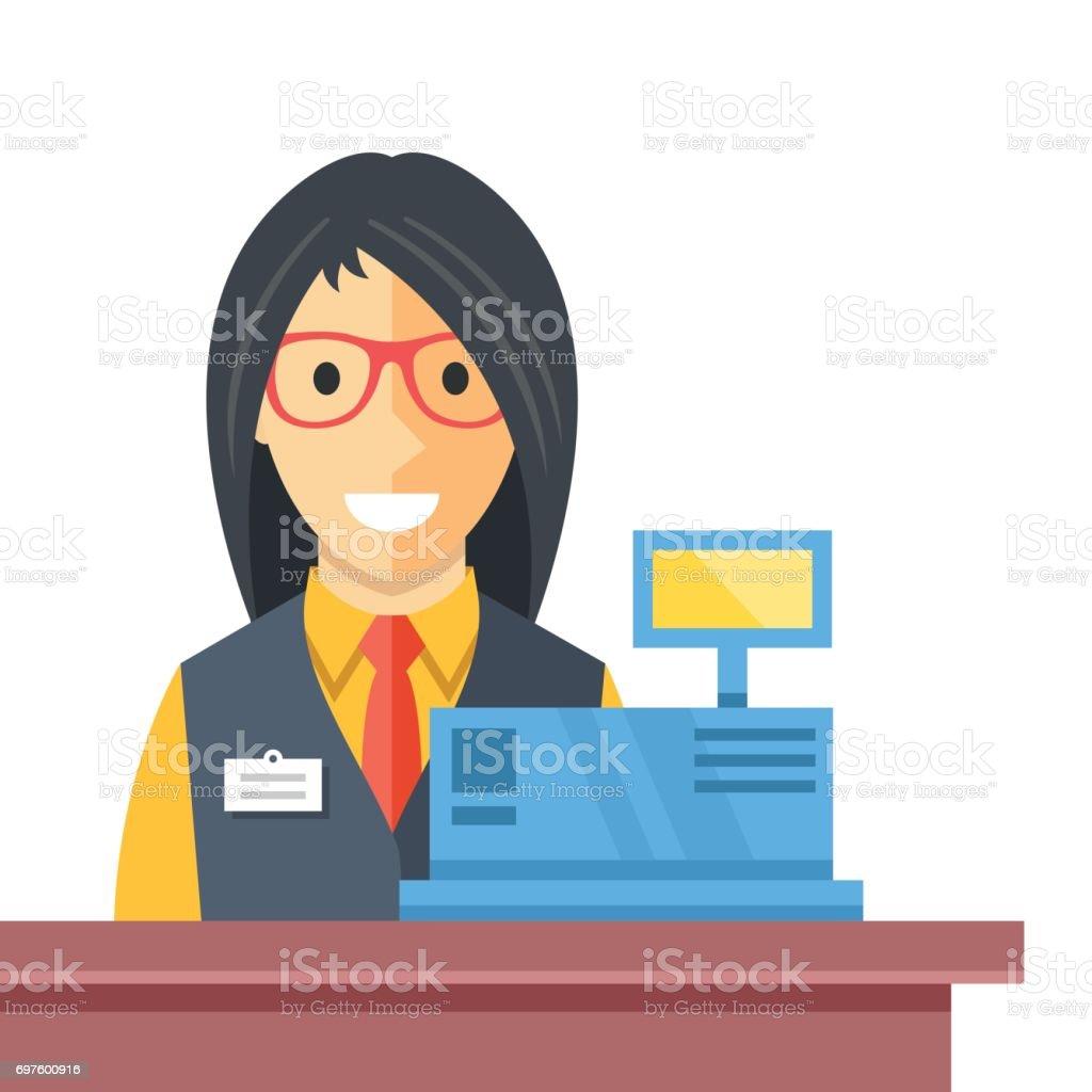 レジでキャッシャーの女性。カウンター デスク、レジまで、幸せな女性店員の笑顔します。チェック アウトの創造的な概念。モダンなフラット デザインのベクトル図 ベクターアートイラスト