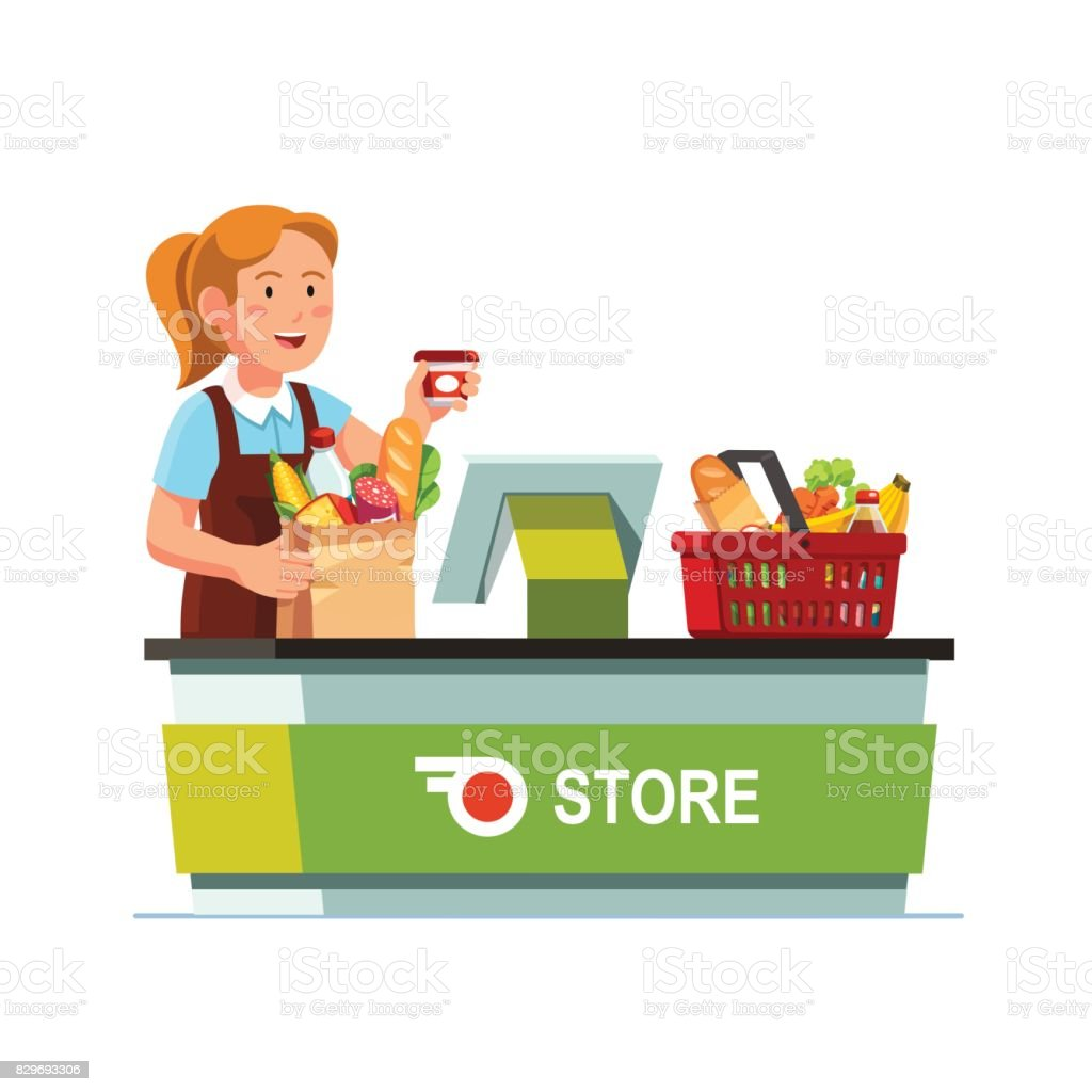 Cashier working at grocery store checkout counter vector art illustration