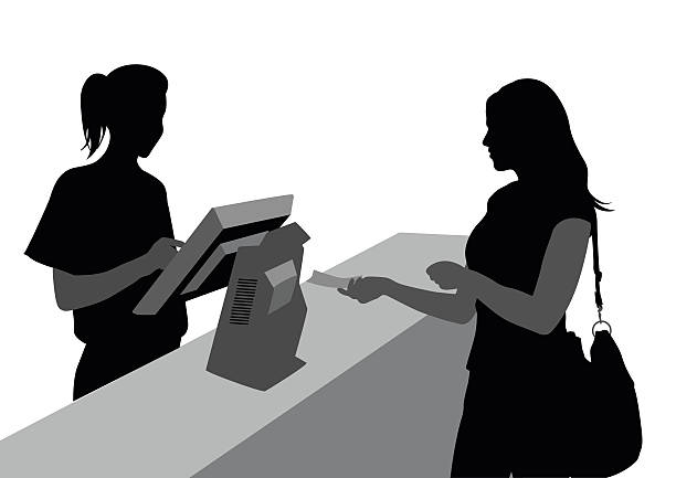 cashiers and customers - 小売販売員点のイラスト素材/クリップアート素材/マンガ素材/アイコン素材
