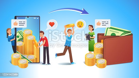 Cashing online app or bank earnings income concept. Mobile phone transaction metaphor. Man transfer money from smartphone to wallet under accountant woman guidance. Flat vector character illustration