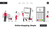 Cashless Paying Website Landing Page. Customers Stand in Queue in Supermarket Prepare Credit Card, Smart Watch and Smartphone at Pos Terminal Web Page Banner. Cartoon Flat Vector Illustration Line Art