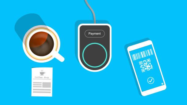 bargeldloses bezahlen im café - kassenbon grafiken stock-grafiken, -clipart, -cartoons und -symbole