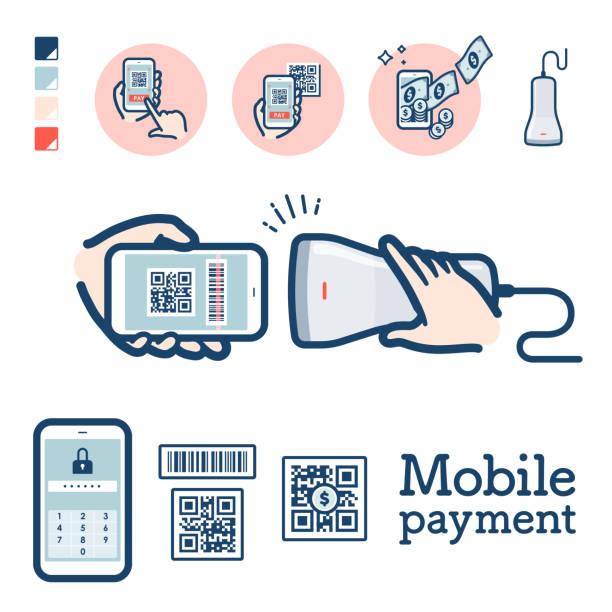 stockillustraties, clipart, cartoons en iconen met cashless_qr code betaling - mobiele betaling