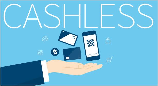 stockillustraties, clipart, cartoons en iconen met cashless, diverse cashless afbeelding, vector illustratie, blauwe achtergrond - mobiele betaling
