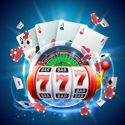 Casino 3d cover, slot machines and roulette with cards, Scene background art.