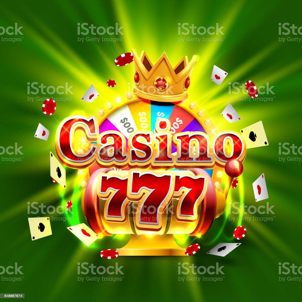 カジノ 777 大勝利スロットと富は王のバナーです。 ベクターアートイラスト