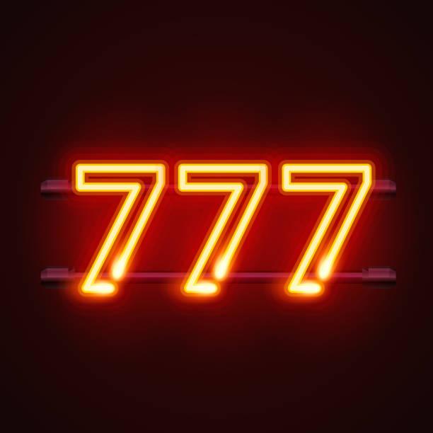 カジノ 777 ネオン看板、勝者はトリプル セブンです。 ベクターアートイラスト