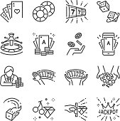 Casino and gamble line icon set. Included the icons as cards, dice , lotto, poker, slot machine, jackpot and more.