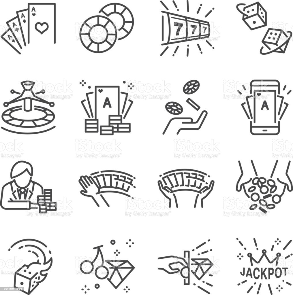 Casino and gamble line icon set. Included the icons as cards, dice , lotto, poker, slot machine, jackpot and more. vector art illustration