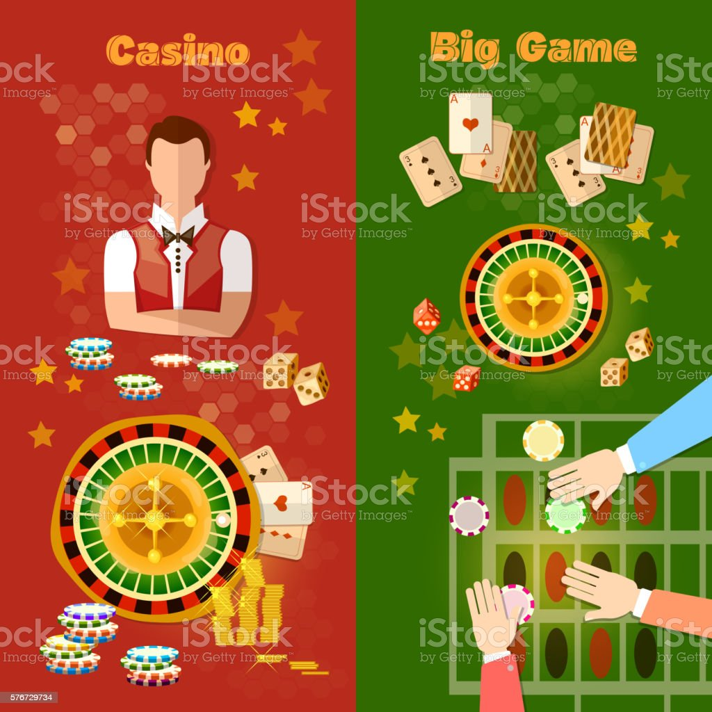 Casino and gambling banner games symbols roulette vector art illustration