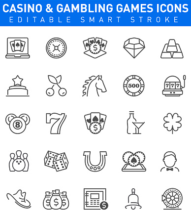 Casino and Gambling Games Icons. Editable stroke
