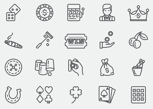 Casino and Gambling Line Icons | EPS 10