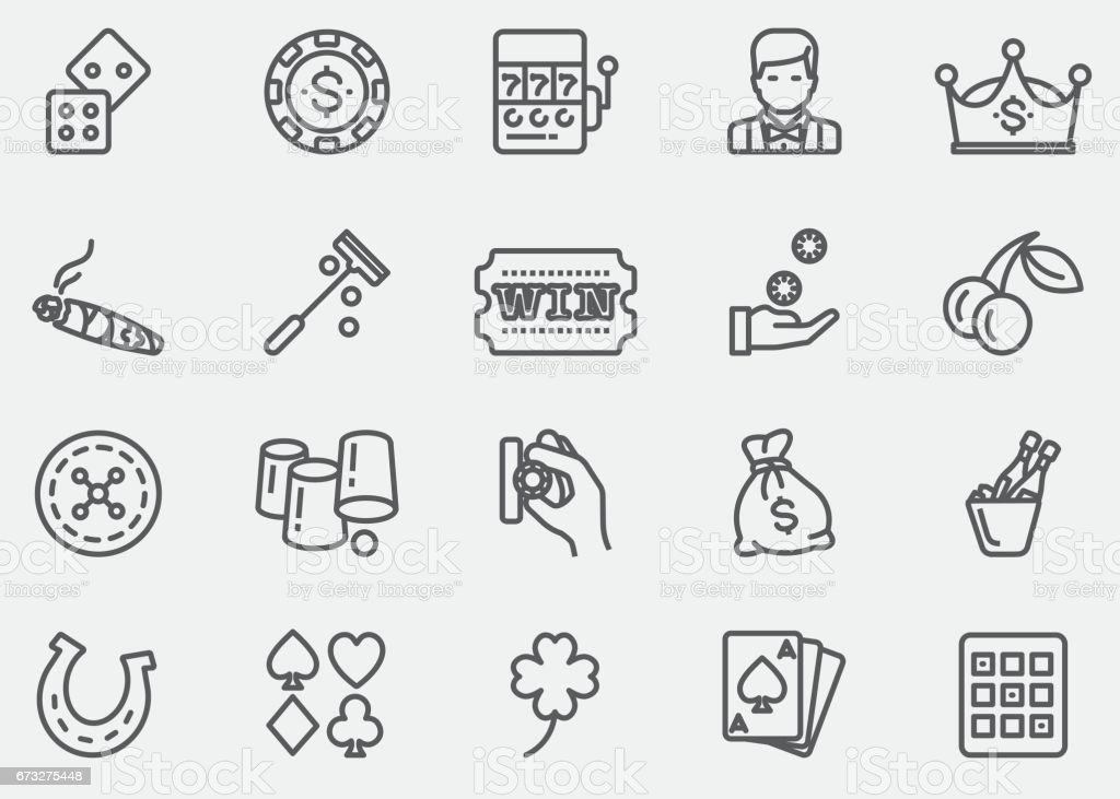 Casino and Gambling Line Icons | EPS 10 vector art illustration