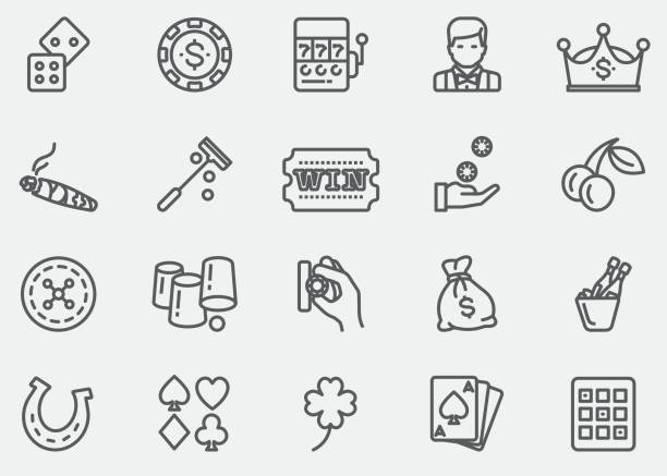 Casino and Gambling Line Icons   EPS 10 Casino and Gambling Line Icons  cartable stock illustrations