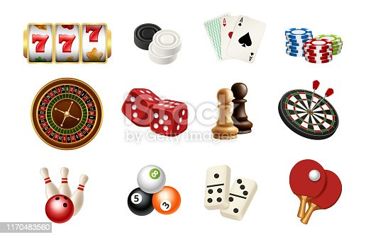 Casino and gambling sport games icons. Vector realistic chess, skittles, balls, casino roulette, slot machine. Illustration of roulette and poker, dice and billiards snooker