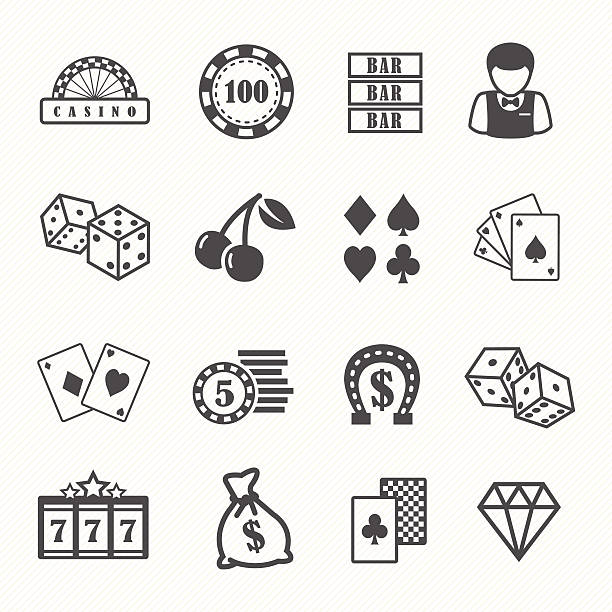 Casino and gambling vector icons set Casino and gambling vector icons set gambling stock illustrations