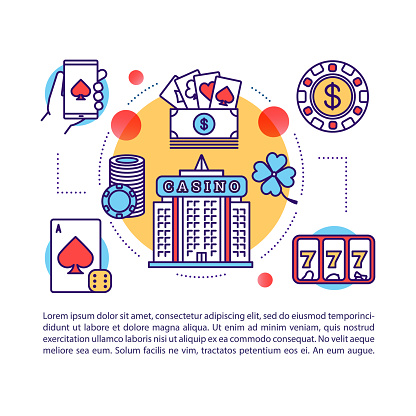 Casino article page vector template. Las Vegas. Gambling & games of chance. Poker, slots, betting. Brochure, magazine, booklet element with linear icons and text. Print design. Concept illustrations