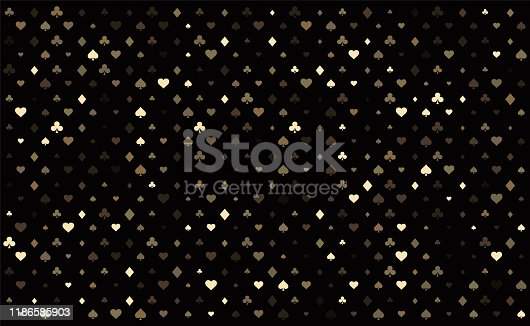 Casino background. Dark black vector background with cards signs. Symbols of playing cards. Design for gambling business or casino. Casino pattern for leaflets of poker games, events