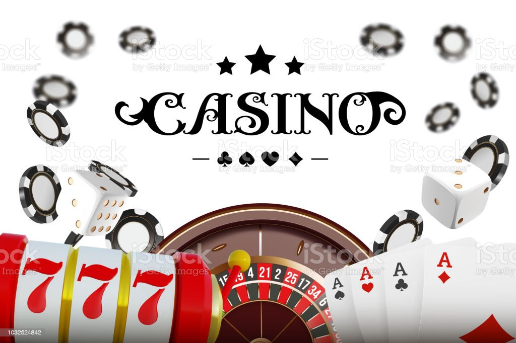 Casino background roulette wheel with playing cards, dice and chips. Online casino poker table concept design. Top view of white dice and chips on blue background. Casino sign. 3d vector illustration. vector art illustration