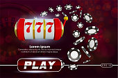 Casino background roulette wheel with playing chips. Online casino poker table concept design. Slot machine with lucky sevens jackpot. roulette chips on red background. Casino banner poster or flyer
