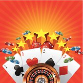 Casino background with cards, chips and roulette wheel. EPS 10. Contains Blending and transparent objects