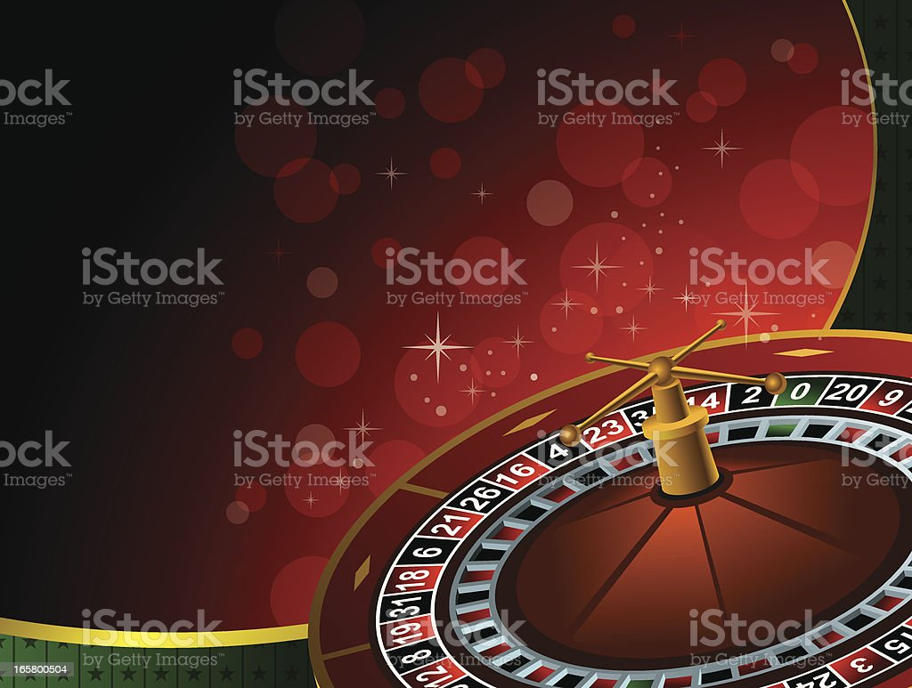 Casino background with 3D roulette wheel royalty-free stock vector art