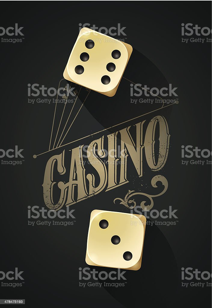 Casino background with dices on table vector art illustration