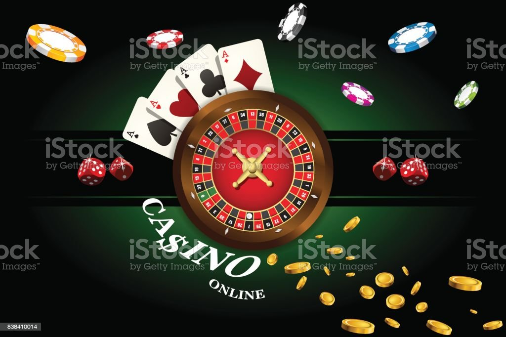 Casino Background With Roulette Dice Casino Chips Playing Cards For Poker  Vector Illustration Stock Illustration - Download Image Now - iStock