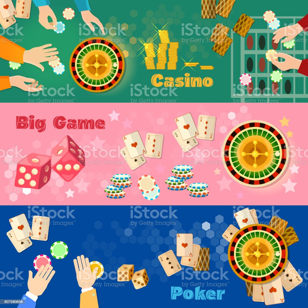 Casino banner poker game playing cards roulette vector art illustration