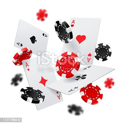 istock Casino banner with poker chips and cards 1127788242