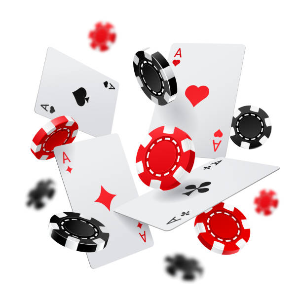 Casino banner with poker chips and cards Flying poker chips and aces cards for internet casino banner. Las Vegas gambling poster or sign. Fortune and luck, chance and sport, success and risk theme poker stock illustrations