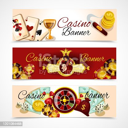 Casino horizontal banner set with roulette dice blackjack poker elements isolated vector illustration