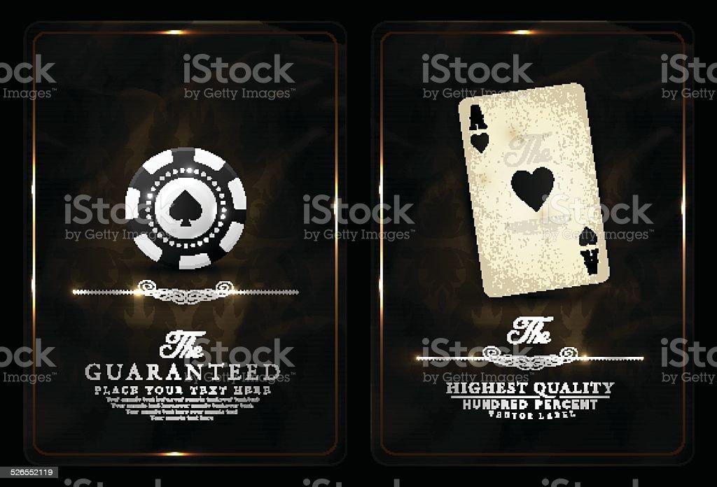 Casino card design-black-vintage vector art illustration